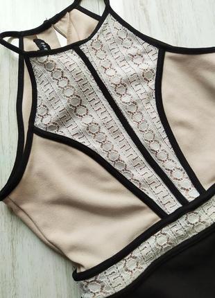 Красиво бежево-черное платье2 фото