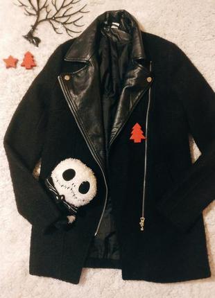 Пальто плащ шерсть кожа базовый черный косуха парка1 фото