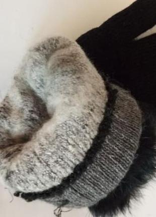 Теплые вязаные варежки рукавички 7583 фото