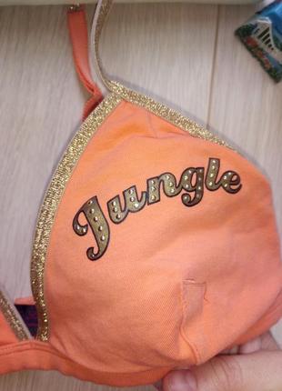 Бюстгальтер оранжевый, хлопковый лиф треугольниками1 фото