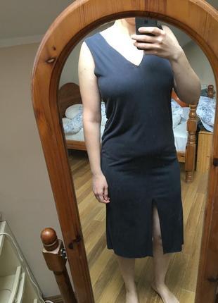 Серое элегантное платье миди mango3 фото
