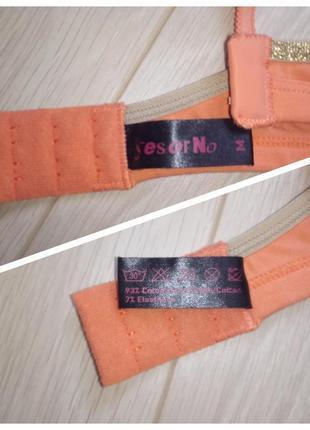 Бюстгальтер оранжевый, хлопковый лиф треугольниками5 фото