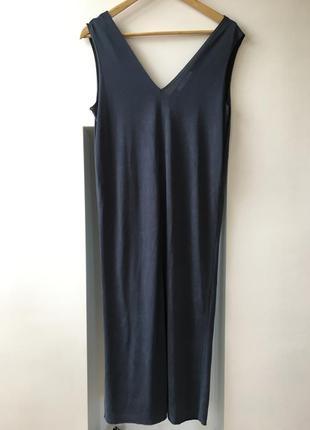 Серое элегантное платье миди mango1 фото