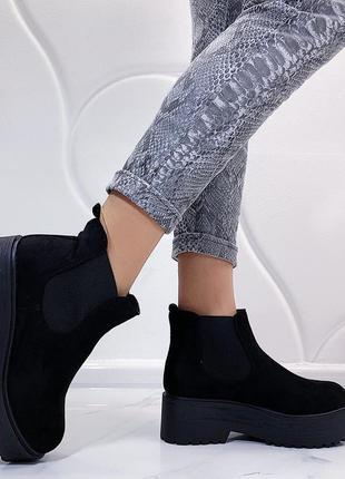 Новые шикарные женские черные демисезонные ботинки1 фото