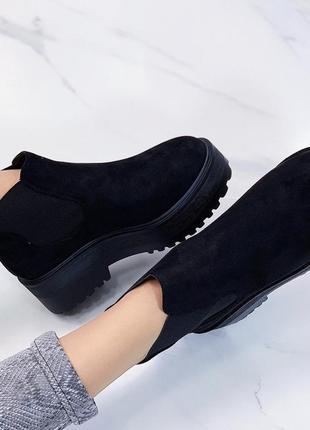 Новые шикарные женские черные демисезонные ботинки3 фото