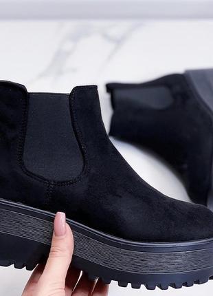 Новые шикарные женские черные демисезонные ботинки4 фото
