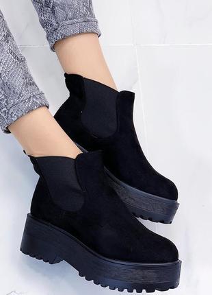 Новые шикарные женские черные демисезонные ботинки5 фото
