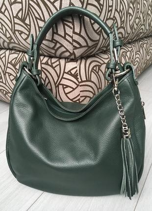 Прекрасная кожаная темно-зеленая сумка из мягкой кожи италия
