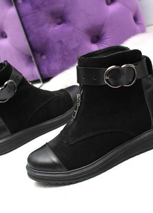 Зимние ботинки из натуральной кожи и натуральной замши3 фото