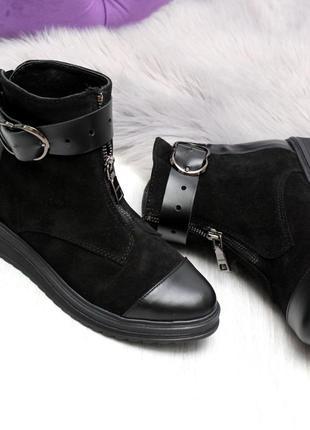 Зимние ботинки из натуральной кожи и натуральной замши4 фото