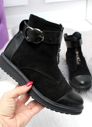 Зимние ботинки из натуральной кожи и натуральной замши6 фото