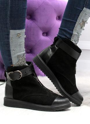 Зимние ботинки из натуральной кожи и натуральной замши7 фото