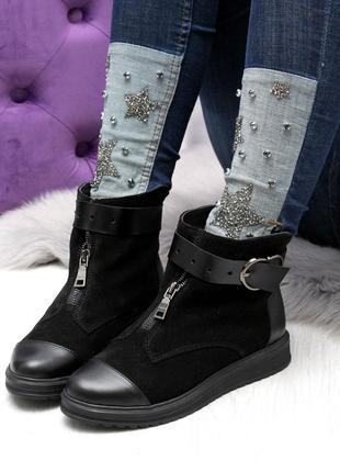 Зимние ботинки из натуральной кожи и натуральной замши9 фото