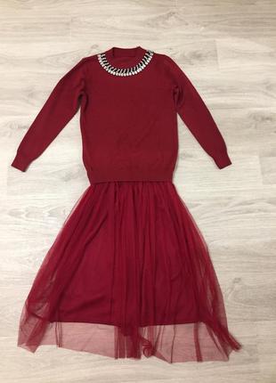 Женское платье с фатином1 фото