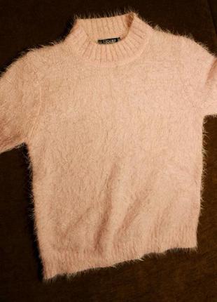 Свитер кофта травка розовый пудровый xs укороченный2 фото