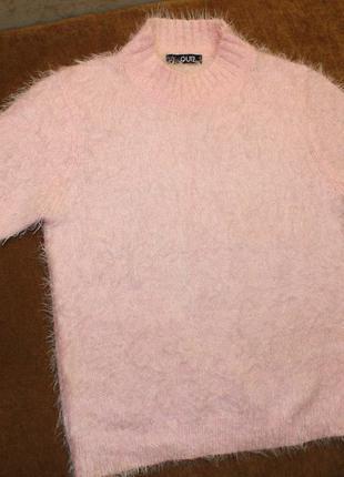 Свитер кофта травка розовый пудровый xs укороченный1 фото