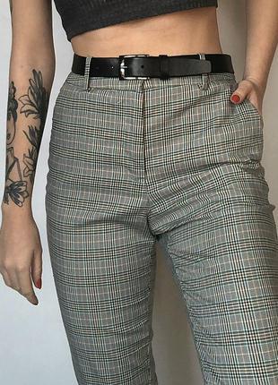 Обалденные зауженные брюки в клетку с высокой посадкой h&m1 фото