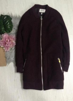 Пальто бомбер куртка bershka марсала бордо теплое1 фото