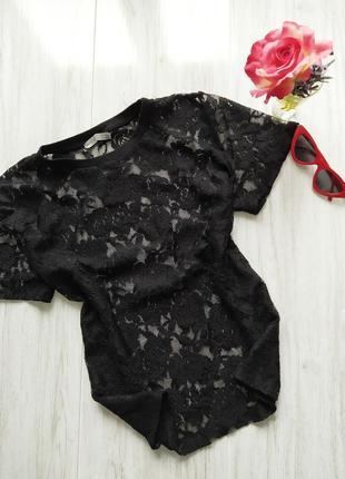 Черная кружевная блуза 😍1 фото