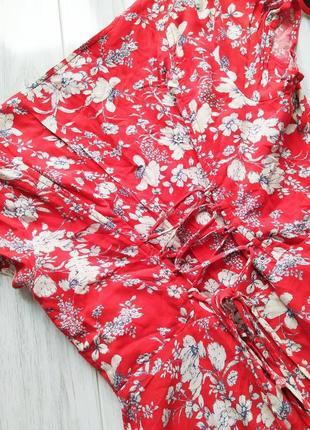 Красное цветастое платье со шнуровкой 🔥2 фото