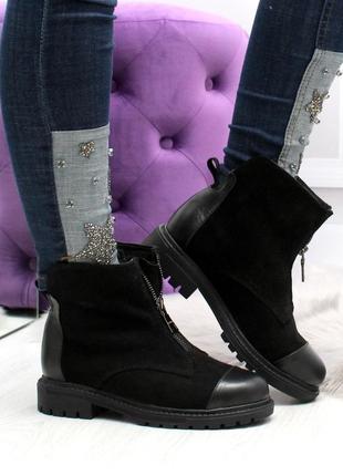 Зимние ботинки из натуральной кожи и натуральной замши2 фото
