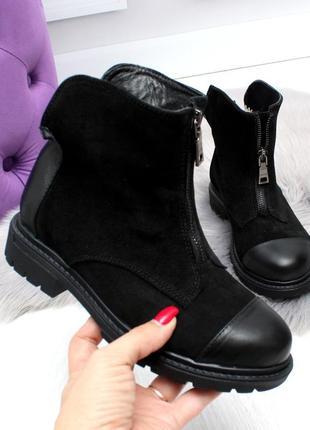Зимние ботинки из натуральной кожи и натуральной замши5 фото