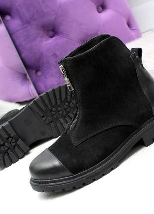 Зимние ботинки из натуральной кожи и натуральной замши8 фото
