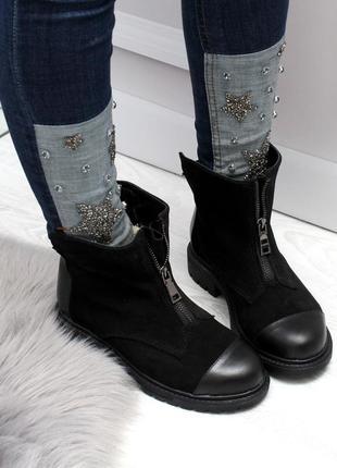 Зимние ботинки из натуральной кожи и натуральной замши10 фото