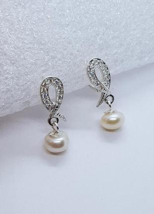 Серебряные серьги - висюльки с жемчугом1 фото