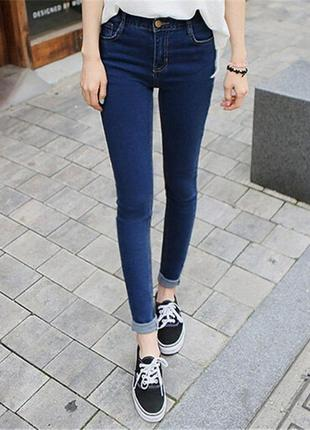 Зауженные джинсы скинни с высокой посадкой талией темно синего цвета 26 размер1 фото