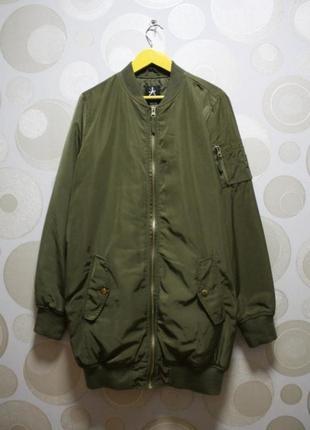 Бомпер хаки зелёная удлинённый куртка длинная ветровка atmosphere