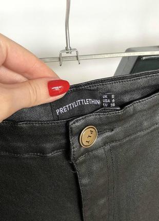 Обалденные узкие брюки под кожу с высокой посадкой prettylittlething5 фото