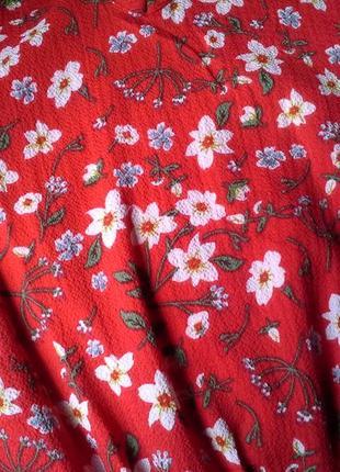Красное осеннее миди платье в цветы червона сукня міді плаття осіннє в квіти3 фото