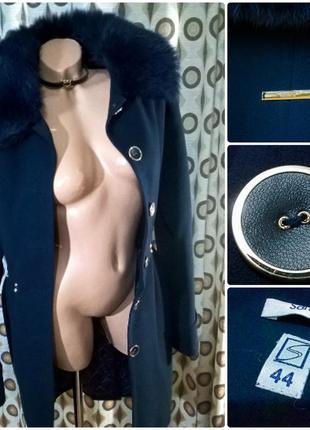 Женское пальто свободный крой фасон шерстяное миди за колено 44 s m4 фото