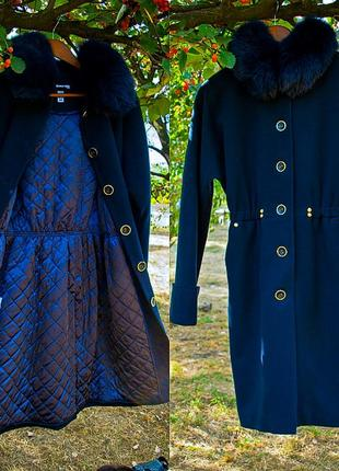 Женское пальто свободный крой фасон шерстяное миди за колено 44 s m2 фото