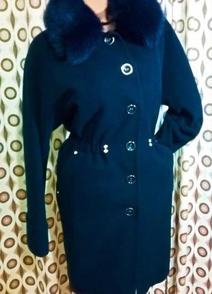 Женское пальто свободный крой фасон шерстяное миди за колено 44 s m7 фото