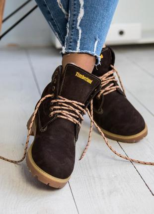 Ботинки зимние женские timberland , натуральный нубук, мех4 фото