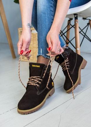 Ботинки зимние женские timberland , натуральный нубук, мех1 фото