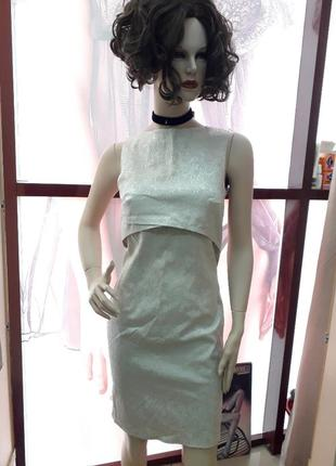 Офисное красивое платье.платье беж1 фото