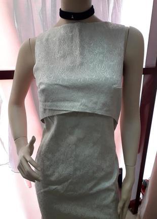 Офисное красивое платье.платье беж2 фото