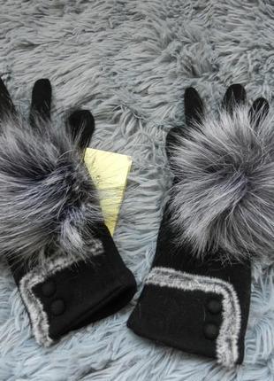✅ перчатки зима с начёсом размер универсальный украшены эко  мехом1 фото