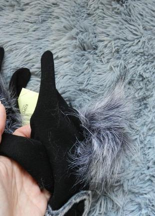 ✅ перчатки зима с начёсом размер универсальный украшены эко  мехом3 фото