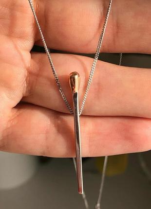 Серебряное родированное колье спичка1 фото