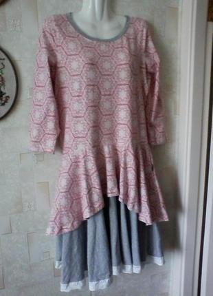Платье в стиле бохо, трикотаж, хлопок, разм.46