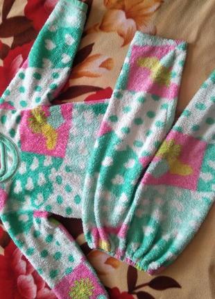 Теплая махровая пижама на девочку 3-6 лет
