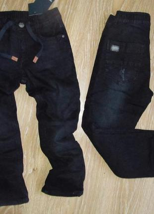 Черные джинсы на флисе для мальчиков р. 128-134-140-146-152-158-164