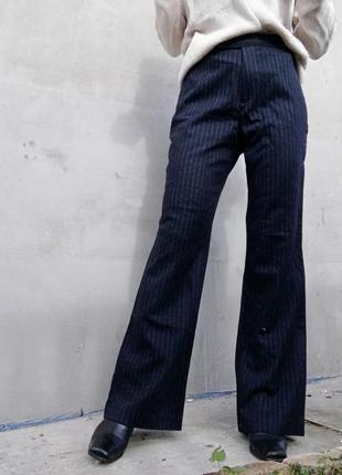 Шерстяные клешные штаны брюки клеш в полоску marks spencer