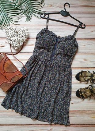 Цветочное шифоновое платье с чашками бюстье