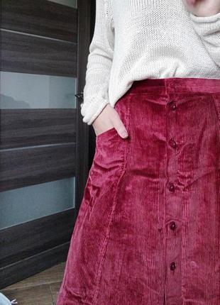 Шикарная вельветовая юбка трапеция миди на пуговицах country collection англия с карманами
