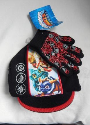Вязаный комплект шапка + перчатки skylanders